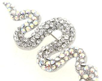 Silver Crystal Snake Pin Brooch 1005292