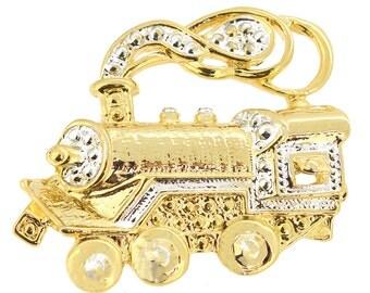 Golden Steamtrain Brooch Pin 1005462