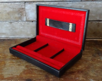 Vintage Mens Valet Mens Jewelry Box Black Hard Leather Box From Sweden