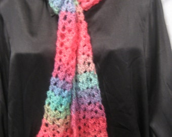 """Hand crochet scarf with Red Heart Boutique Unforgettable Yarn 78"""" long"""