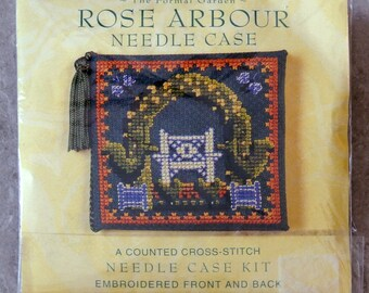 Rose Arbour Needle Case, Counted Cross Stitch Case Kit. Embroidered back & front