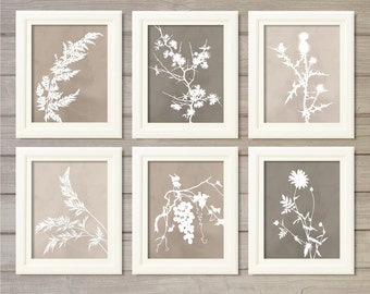 Spring Floral Wall Art Printable Grey Monotone Watercolor (Set of 6)-8x10 Instant Download Botanical Flower Plant Living Room Home Decor