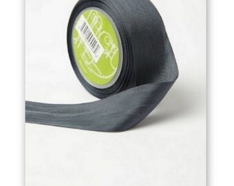3 yds CHARCOAL Silk Ribbon 1.25 inches wide   cheswickcompany
