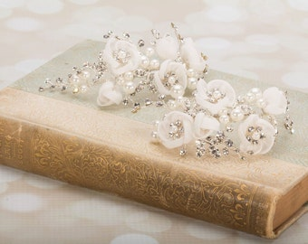 Wedding Shoe Clips - Flower Shoe Clips - Shoe Clips With Flowers Pearls And Crystals - Handmade Shoe Clips - Bridal Shoe Clips  Wedding Shoe