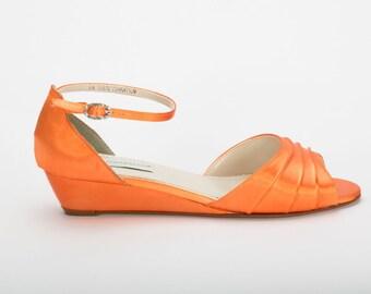 Orange Wedding Shoe - Wedding Shoes - Orange Wedge - Wedding Shoes - Orange Wedges-Orange Low Heels -Wedding Shoe Wedge -Orange Bridal Shoe