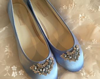 Cinderella  Shoes - Shoes - Wedding Shoes -  Blue Wedding Shoes - Blue Flats - Blue Wedding Flats - Choose From Over 150 Colors - Ballet