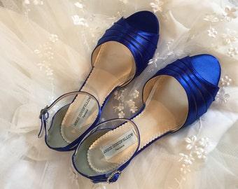 Royal Blue Wedge - Royal Blue Wedding Shoes -  Wedge - Wedding Shoes - Blue Wedges-Blue Low Heels Wedding Shoe Wedge -Royal Blue Bridal Shoe