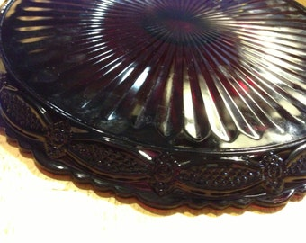 Vintage Ruby Red Glass Cake Plate