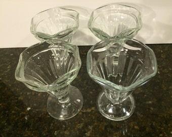 Vintage Sundae Glasses, Set of 4