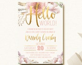 Baby Shower Invitation Floral Boho Chic Gold and Blush Hello World