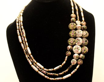 One of a Kind Hand Made Three Strand Cloisonné Necklace