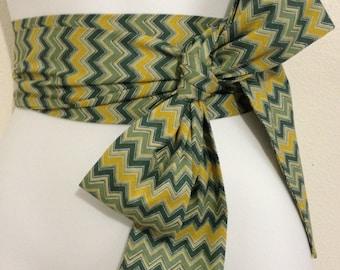 Kimono Obi Belt Sash One Size Chevron Green Multi