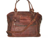 "Leather Tote Bag Cross-body Bag Magui BIS // Leather Weekednder extra large size in vintage brown fits a 17"" laptop"