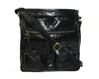 "11""x12"" Distressed BLACK Leather Bag // Leather Messenger Bag // Leather Cross-body Purse // Leather Handbag Iris"