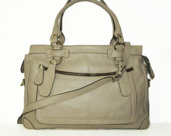 """Beige Leather Tote Bag Cross-body Bag Rina extra large, fits a 17"""" laptop"""