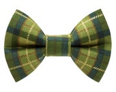"Cat Bow Tie - ""The Trendsetter"" -  Green Plaid"