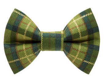 """Cat Bow Tie - """"The Trendsetter"""" -  Green Plaid"""