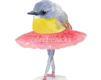 Ballet Bird Watercolor - 5x7 Illustration Print, Bird Watercolour, Ballet Art, Pink Tutu, Ballerina