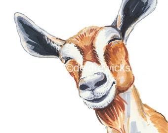 Goat Drawing Print - Barnyard Animal, Nursery Decor, Happy Goat, Goat Art, Animal Painting, 8x10