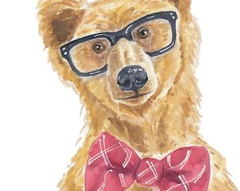 Bear Watercolor - 5x7 PRINT, Grizzly Bear, Brown Bear Illustration, Hipster Bear, Nursery Art