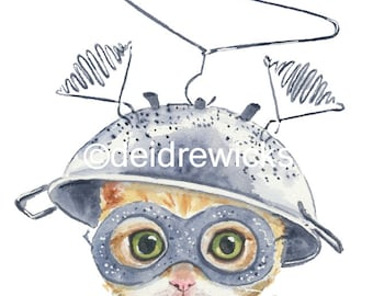 Orange Tabby Kitten - Cat Watercolor PRINT, 11x14 Nursery Art, Cute Cat Art, Orange Cat, Animal Watercolour