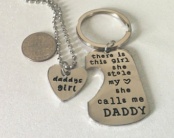 1 - Daddy Daughter Key Chain and Pendant, Daddy's Girl Pendant, Daddy Key chain, Fathers Day Gift,  Stamped Pendant