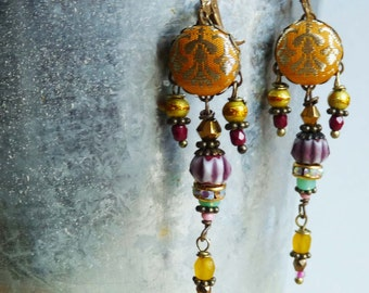 yellow sari India silk brocade dangle  earrings