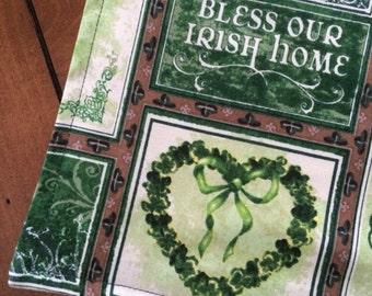 "St Patrick's Day Table Runner | 36"" - 90"" | Shamrock Table Runner | Clover Table Runner | Bless Our Irish Home | Tablecloth | St Pats Saint"