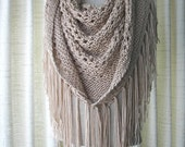 SALE CAPPUCCINO Hand Knit Shawl Triangle Scarf Fringes in Anti Pill Acrylic / beige tan knit scarf shawl / Bridal shawl