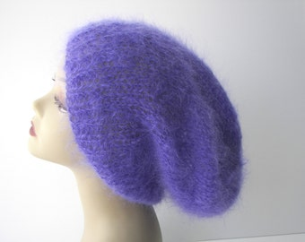 Luxury English Mohair Hand Knit oversized slouchy beanie hat inLavender or Fuchsia Rose / English mohair knit hat