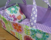 Doll Carrier, Bitty Baby Size,  Flowers, Lavendar Lining