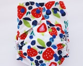Fresh picked berries, one size PUL cloth diaper cover, OS, strawberry, blueberry, flowers, ready to ship