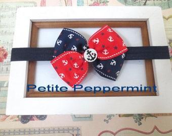 Navy Blue Baby headband, baby girl headband, newborn headband, toddler headband, Nautical Baby Bow Headband, Infant bow headband
