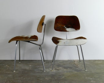 Eames for Herman Miller Cowhide Molded Plywood Side Chairs-DCM (Set of 2)