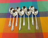 Mismatched 8 Set Round Gumbo Soup Spoons - Silverplate Flatware -  Cottage Chic Floral Art Deco