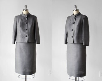 60 gray suit. ladies. 1960's silver jacket and skirt set. collared. pencil skirt. 60's medium suit. m.