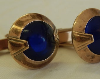 Blue glass and copper NU-LUK cufflinks