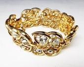 Vintage Trifari Rhinestone Bracelet - Goldtone Links with Clear Rhinestones - Lily Pad and Flowers - Signed Crown Trifari - 1950's 1950's