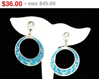 Sterling Silver Dangling Hoop Earrings - Crushed Turquoise Chips - Studs for Pierced Ears - Signed Mexico 925 and TB - 51