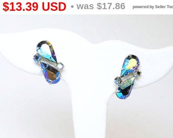 Vintage Coro Aurora Borealis Rhinestone Earrings -  Clip on