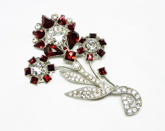 Art Deco Red Flower Brooch - Ruby Red & Clear Rhinestones - Large Flower Bouquet Pin - Vintage 1940's Mid Century