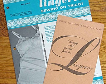 2 Vintage 1970's Sewing Lingerie Leaflets, Lingerie Sewing On Tricot, Sewing with Special Fabrics