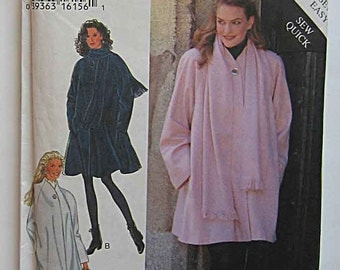 1990's Misses' Easy Coat in 2 Lengths and Scarf, Raglan Sleeves, Style 2551 Sewing Pattern UNCUT Sizes S-XXL 10-28