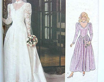 Vintage 80s Misses' Wedding Gown with Train & Petticoat, Bridesmaid Dress, Vogue 1092 Sewing Pattern UNCUT Available in Size 6, 8 OR 12
