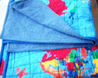 Handmade child's blanket/ play mat with quilted world map.