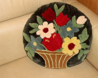 Antique Floral PILLOW for the PARLOR Wool and Velvet 1929