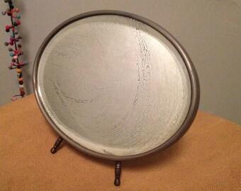 FOLDING TRAVEL MIRROR: Tabletop Shaving/Vanity Beveled Mirror