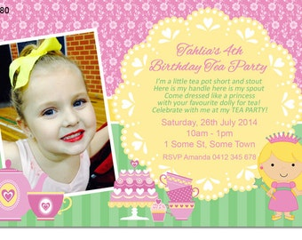 Little Girl's Tea Party Birthday Photo Invitation - Digital or Printable