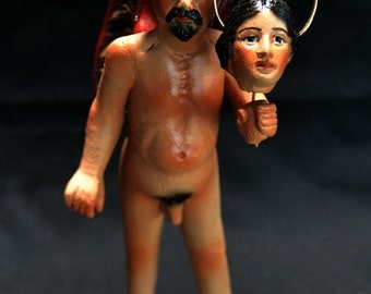 Mexican Folk Art - Devil With The Severed Head Of An Angel