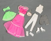 Barbie fashion clothes Long pink chiffon dress, Black/white striped pants and shorts w/sleeveless top, Gathered skirt/bandeau top, socks